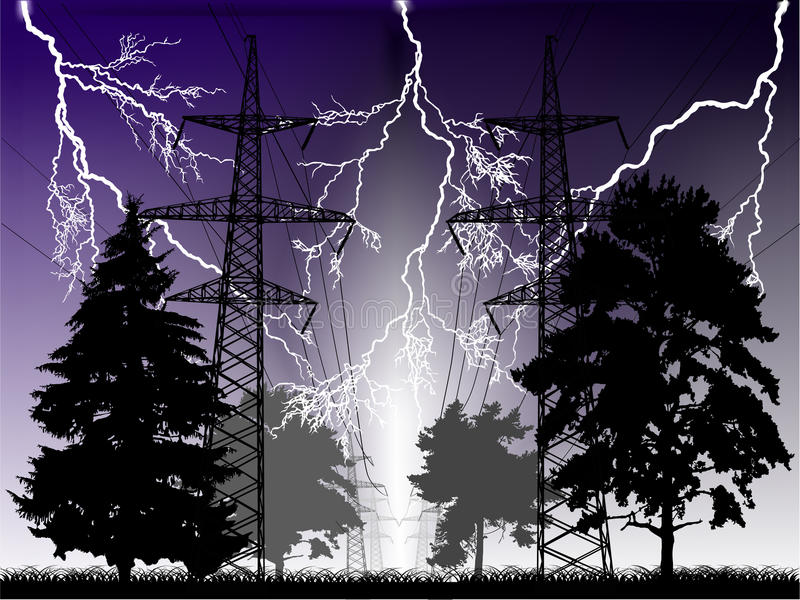 Lightnings and high-voltage line at night royalty free illustration