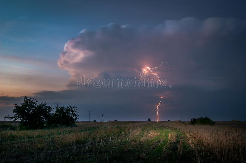 Lightnings on lublin during one of the storms in 2017. royalty free stock photos