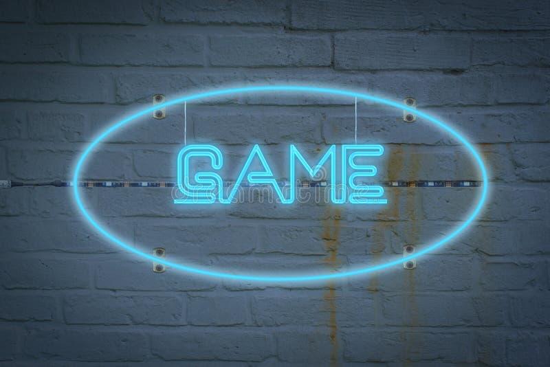 Lighton de néon a parede com o jogo de palavras fotografia de stock