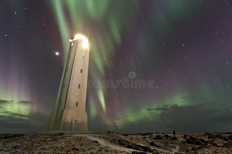 Human chasing the northern lights looks tiny in front of lighthouse in Iceland stock photos