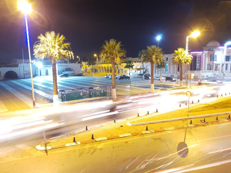 Lightpainting at night in the town Ksar Hellal , Tunisia stock photography
