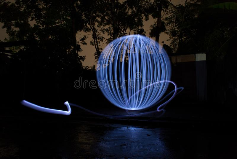 Lightpainting photography drawing white ball royalty free stock image