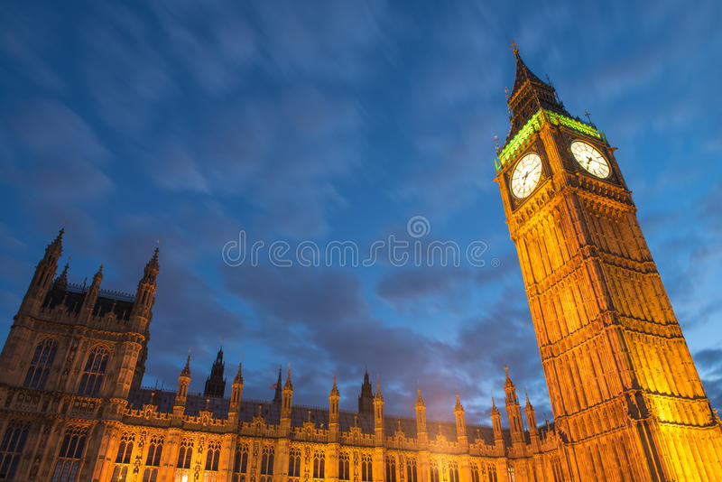 Lights Of Big Ben At Dusk Stock Image