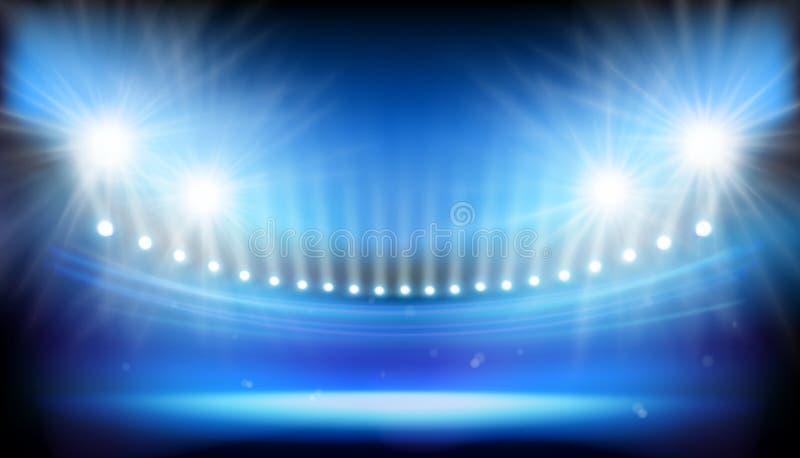 Lights on big stadium. Vector illustration. Spotlights illuminating big stadium before the match. Abstract vector illustration stock illustration