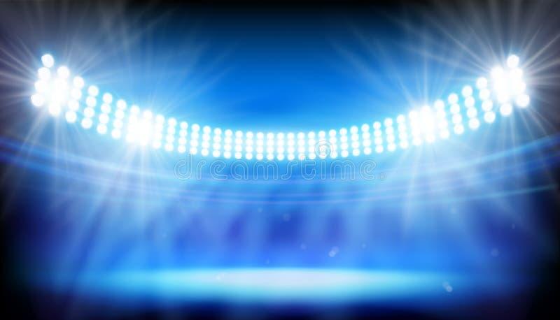 The lights on big stadium. Vector illustration. Spotlights illuminating big stadium before the match. Abstract vector illustration vector illustration