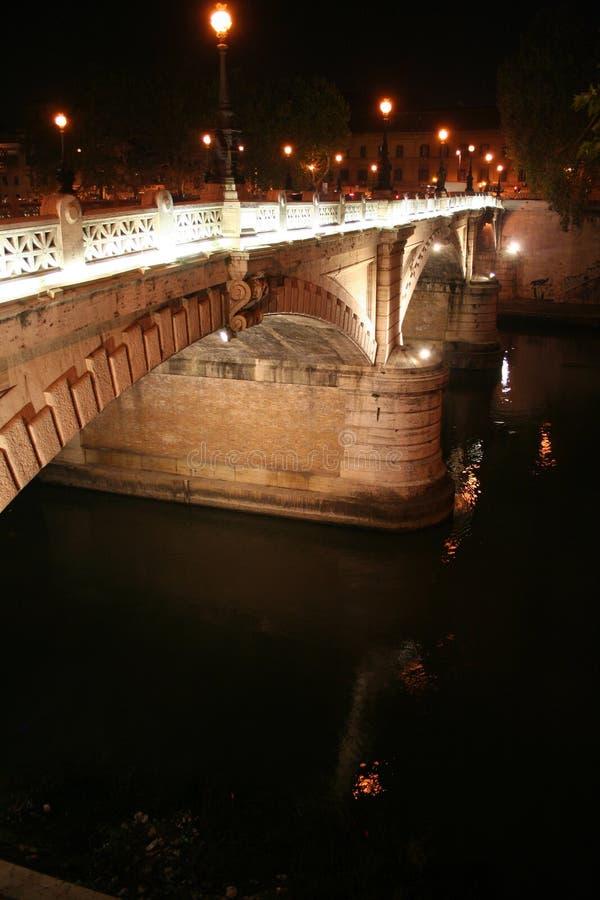 Lights on the Bridge (Tevere) stock image