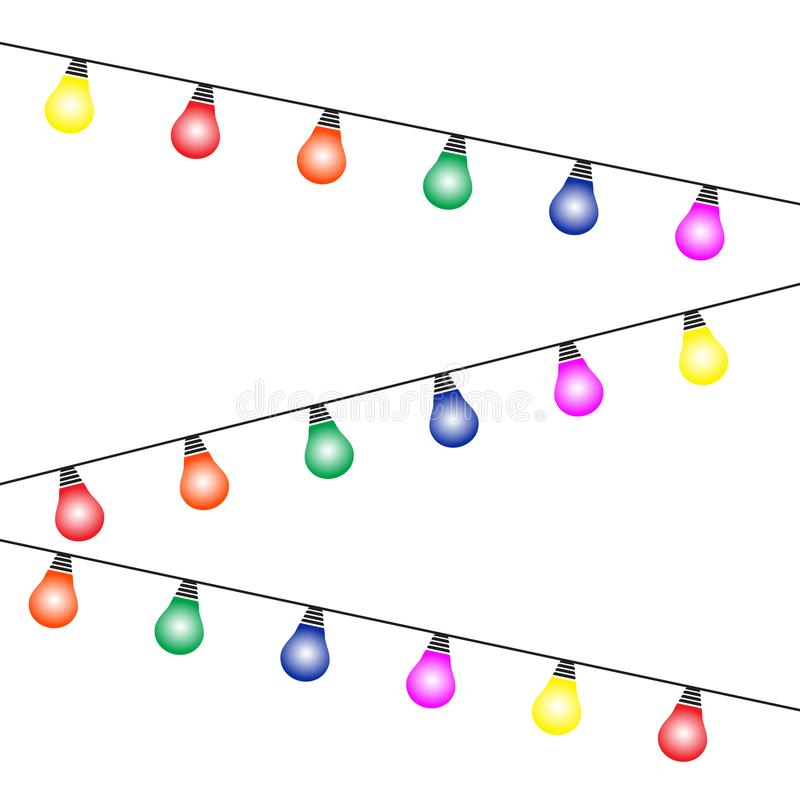 Lights bulbs isolated on white background. Glowing colorful Christmas garlands string. Vector New Year party lights decorations. Flat style vector illustration