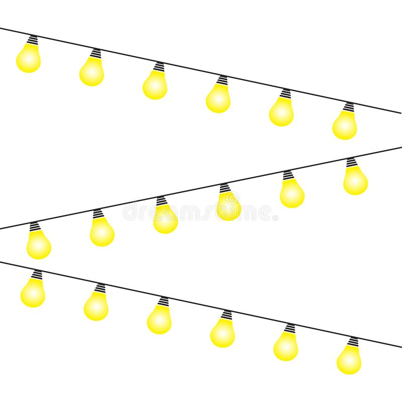 Lights bulbs isolated on white background. Glowing golden Christmas garlands string. Vector New Year party lights decorations. Flat style royalty free illustration