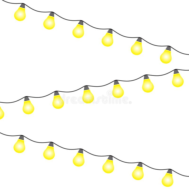 Lights bulbs isolated on white background. Glowing golden Christmas garlands string. Vector New Year party lights decorations. Flat style vector illustration