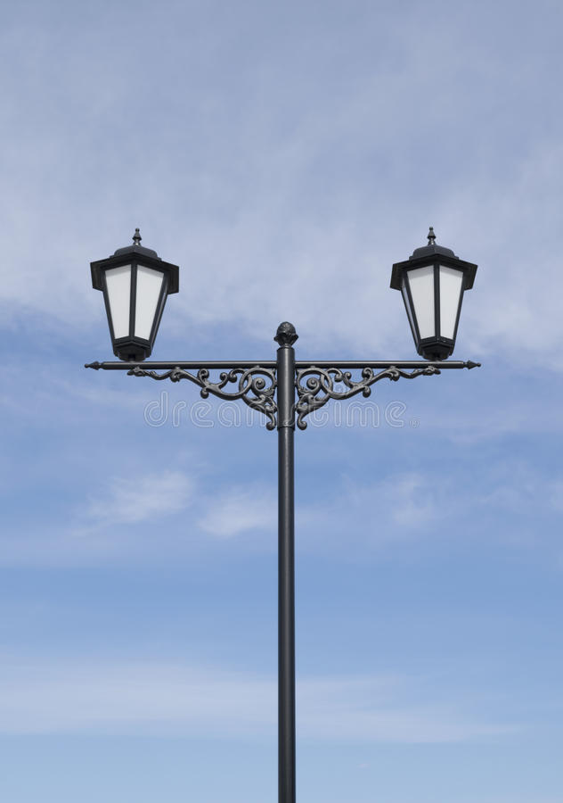 Lights with cast iron decor stock image