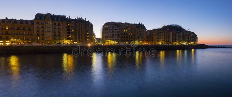 The lights of the city of San Sebastian royalty free stock image