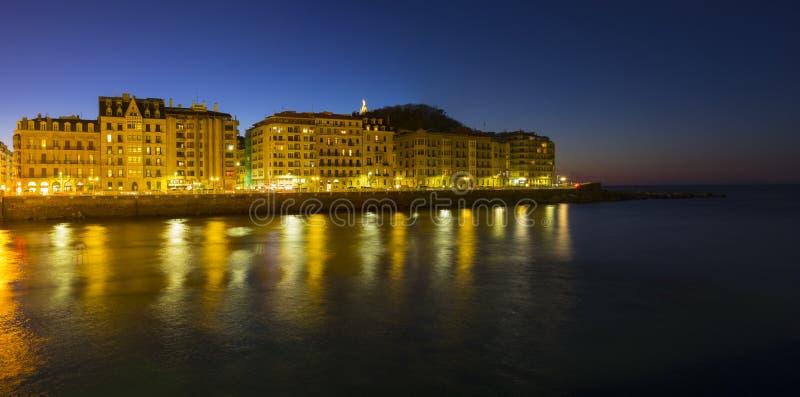 The lights of the city of San Sebastian stock photos