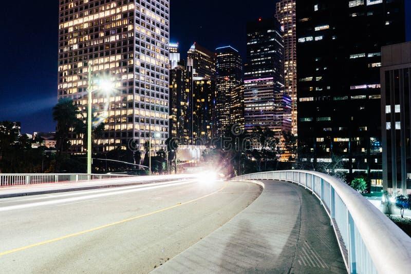 Lights on city streets stock photos