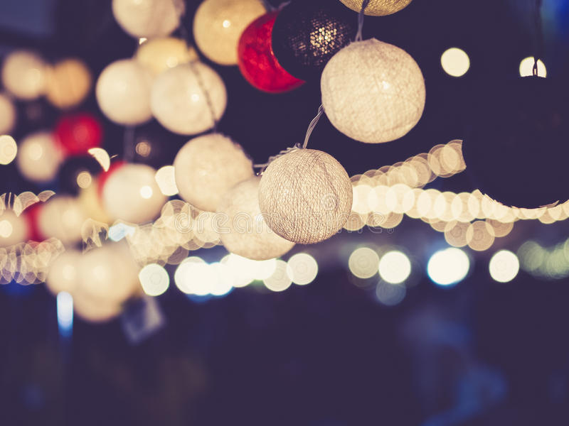 Lights decoration Party Event Festival outdoor. Night bokeh Background royalty free stock photo