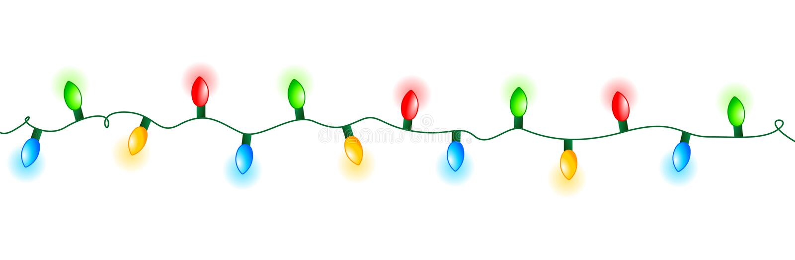 Lights divider. Colorful glowing christmas lights divider / frame. Colorful holiday lights illustration
