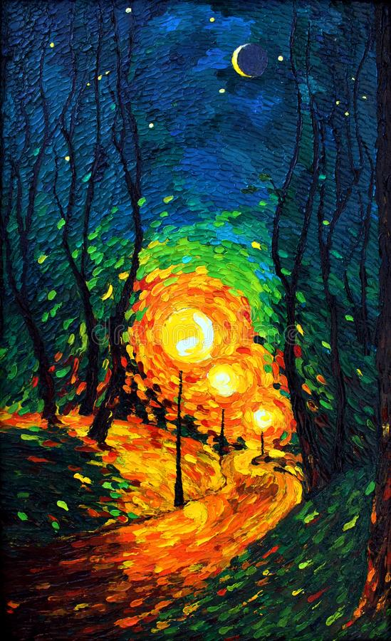 Lights the evening Moon oil painting royalty free illustration