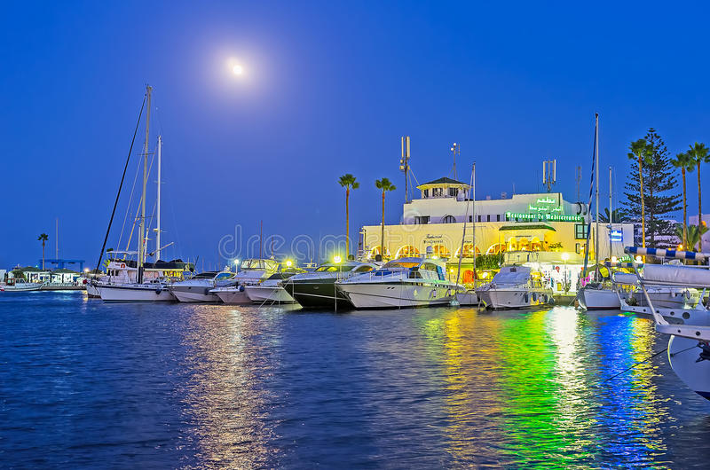 The lights of evening port royalty free stock photo