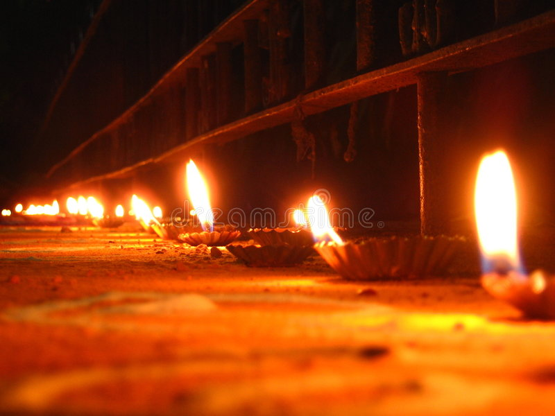 Lights Festival. People light up numerous oil lamps on the festive occasion of Diwali in India royalty free stock photos
