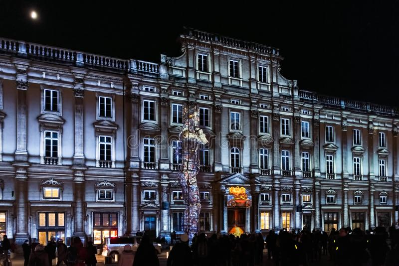 Lights festival in Lyon in France stock photo