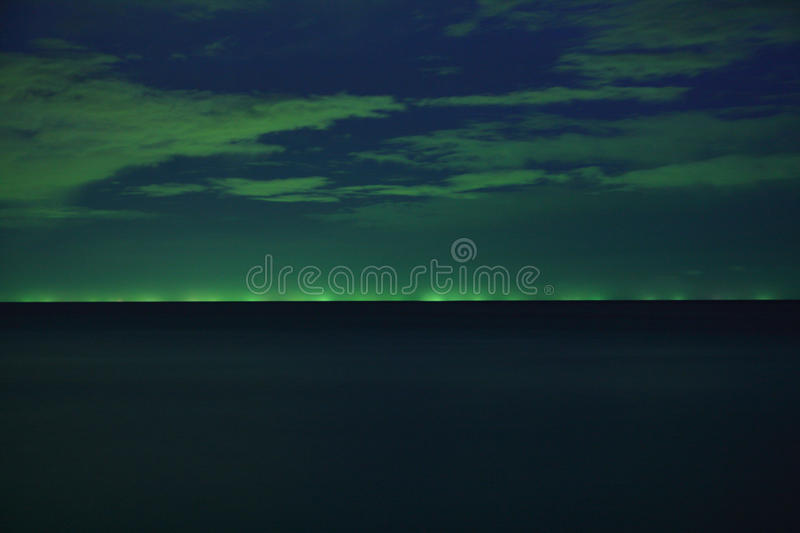 Download Lights From Fishing Boats At Night Stock Photo - Image: 26407002