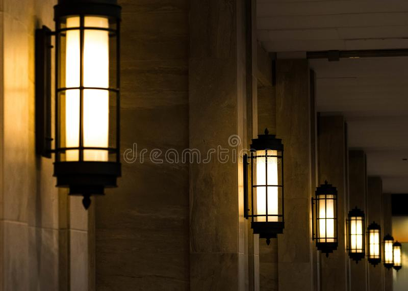 Pattern of light at the hallway. Lights at the hallway make a pattern at night stock image