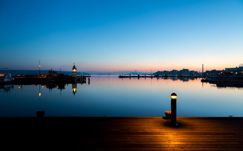 Lights on Harbor stock image