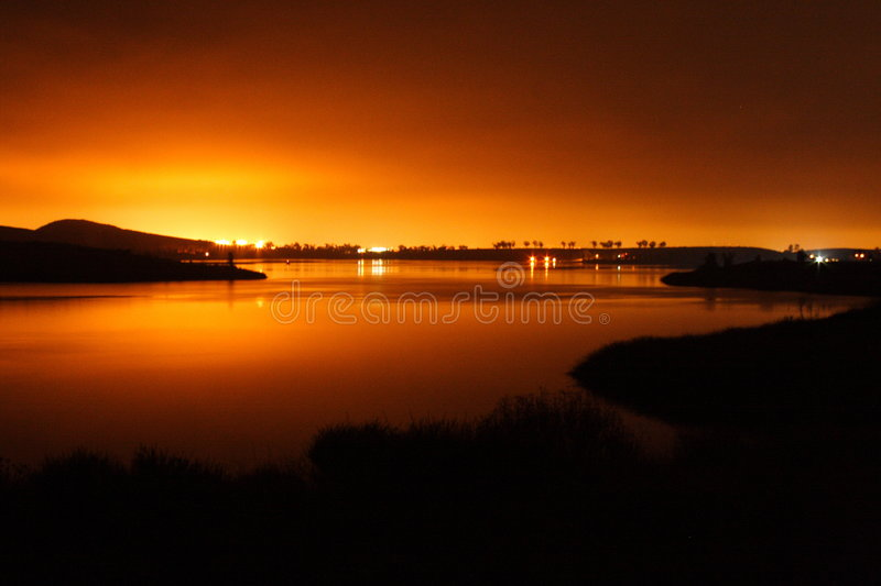 Lights on a lake royalty free stock photo