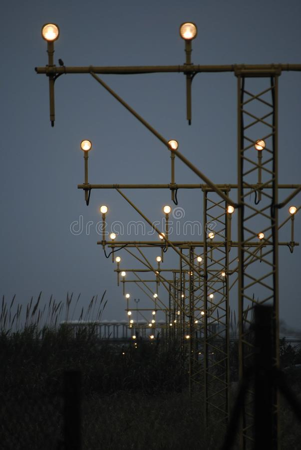 Lights in a Landing Track royalty free stock photos