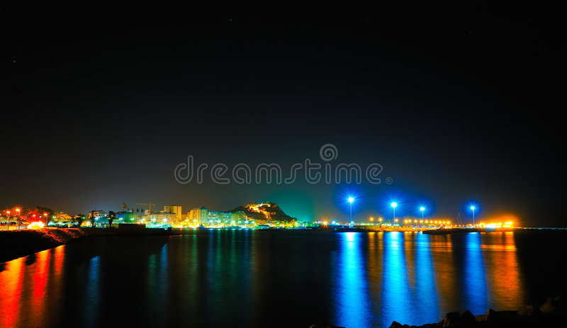 The Lights Of A Mediterranean City By Night Stock Images