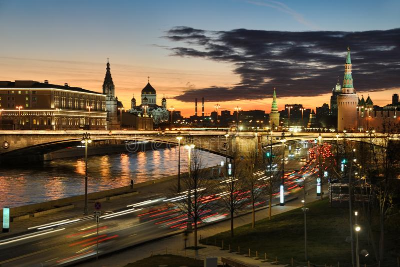 Lights of Moscow City Against Twilight Skies at Sunset royalty free stock image