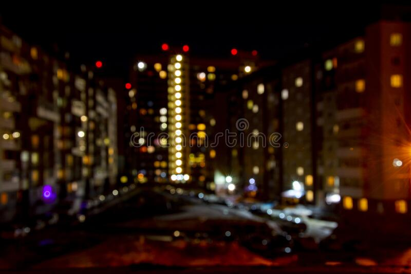 The lights of the night city bokeh. Beautiful city night lights, abstract blurred bokeh background royalty free stock image