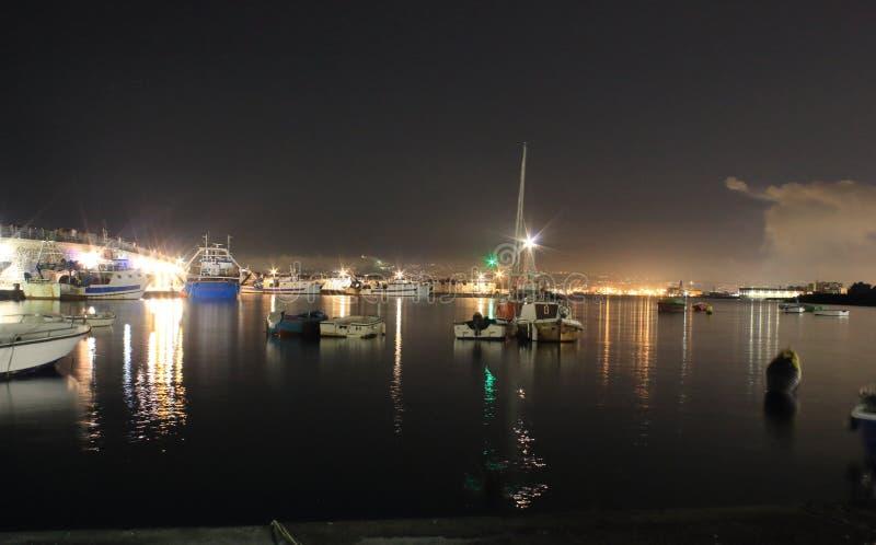 The lights in the night. Granatello, Portici, Italy. Lights in the Port of Granatello at night, in spring - Granatello, Portici, Italy royalty free stock photography