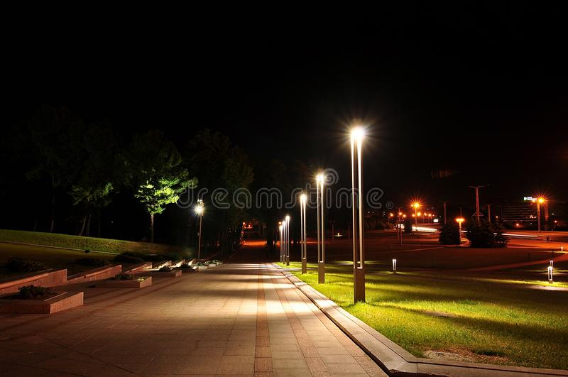 Lights in the night park royalty free stock photos