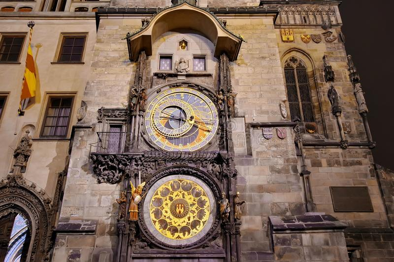 Lights of night in Prague. Landmark attraction: The Medieval Astronomical Clock - Czech Republic royalty free stock photography
