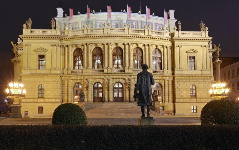 Lights of the night in Prague. Landmark attraction: Rudolfinum - Czech Republic stock photo