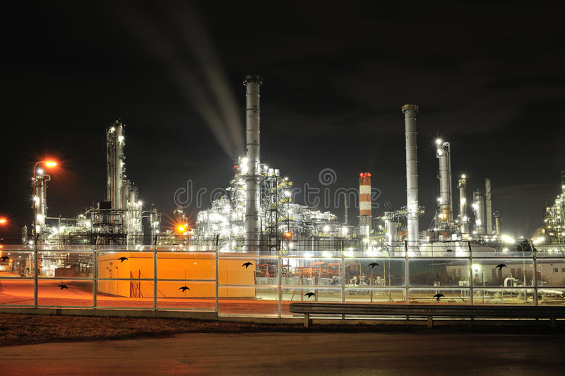 Oil refinery in night. Lights from OMV oil refinery in Schwechat, Austria by night royalty free stock image