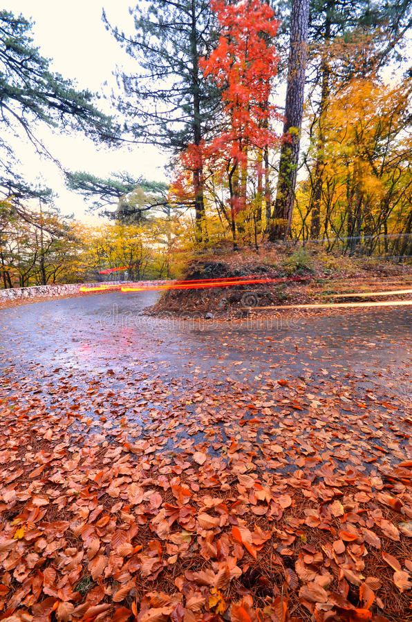 Lights of a passing car. On the autumn mountain road stock photos