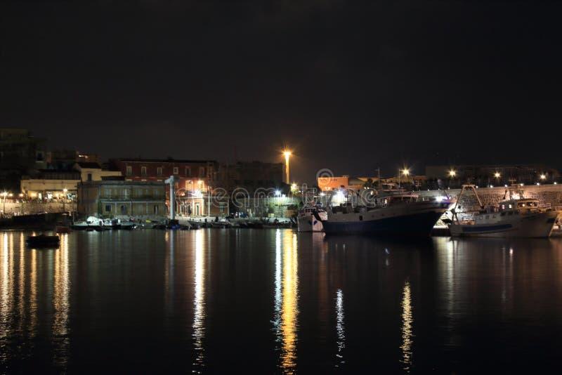 The lights in the night. Granatello, Portici, Italy. Lights in the Port of Granatello at night, in spring - Granatello, Portici, Italy royalty free stock image