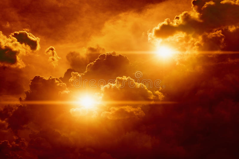 Lights in red sky. Abstract fantastic background - bright red lights in dark cloudy sky looks like ufo royalty free stock photo
