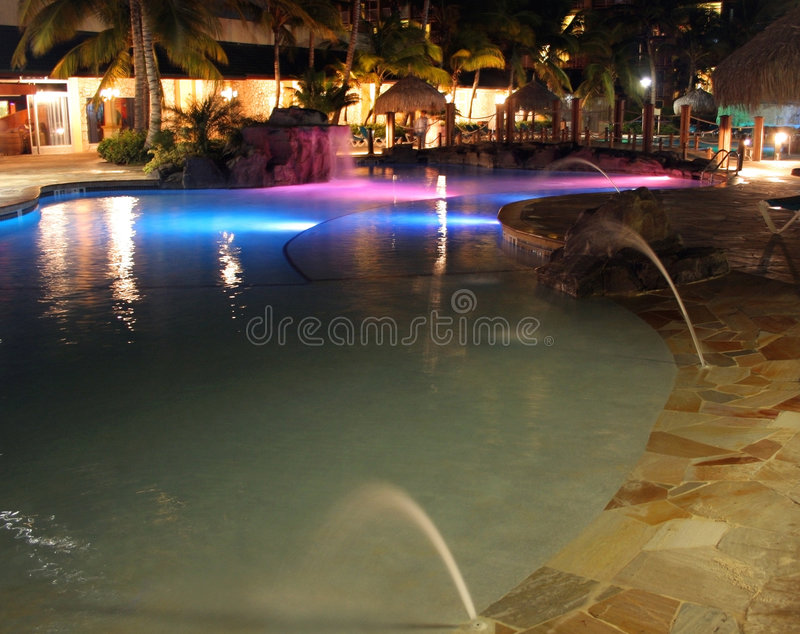 Download Lights Reflected Over A Resort Pool, Caribbean Stock Image - Image: 8850867