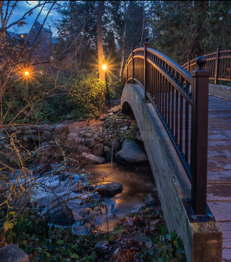Lights reflected on stream through Lithia Park in Ashland, Oregon stock image
