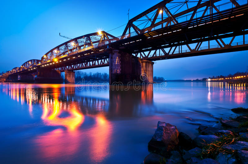 Lights on the River, Cremona, Italy stock images