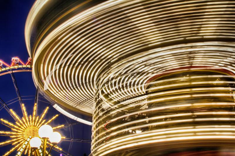 Lights on a rotating carousel.Odessa city, Ukraine. Lights on a rotating carousel, close-up.Odessa city, Ukraine royalty free stock photography