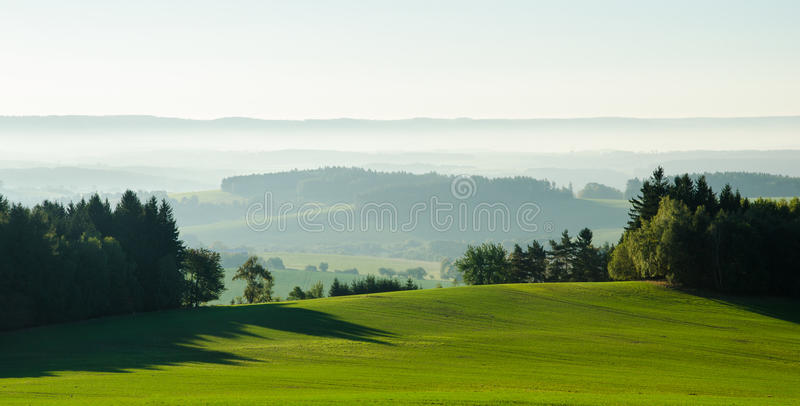 Lights and shadows. Magical morning landscape covered by the sun stock photography