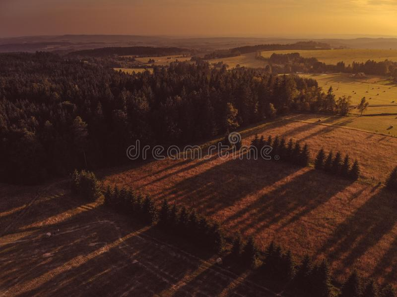 Lights and Shadows. Over the landscape captured by drone. Love all sunsets and sunrises because the light is more than magical at that moment stock photography