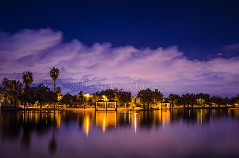 Lights on shore stock photos