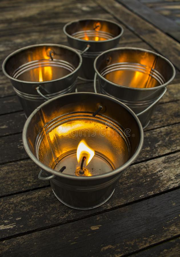 Lights in small buckets. Shot in Denmark royalty free stock photography