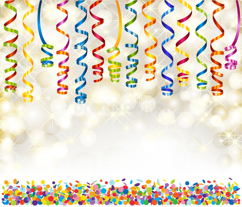 Lights, snowflakes, serpentine and confetti vector illustration