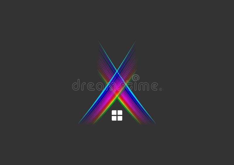 Lights sound logo, house, home, symbol, nightclub, building, construction and music studio rays concept design vector illustration