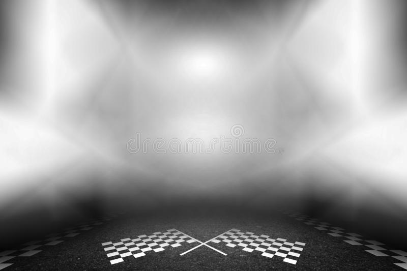 Lights in the stage finish line on street racetrack.  vector illustration